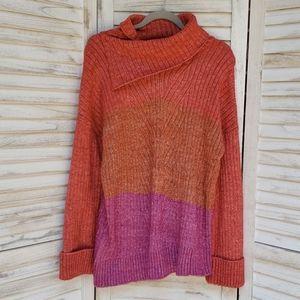 Democracy Cowl Neck Red Purple Tan Cord Sweater